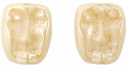 Dramatic Face Mask Glass Beads Luster Opaque Beige 13/11mm