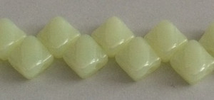 Silky Two Holed Beads - 6mm Milky Jonquil