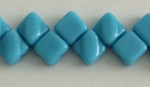 Silky Two Holed Beads - 6mm Opaque Turquoise