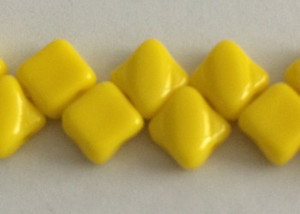 Silky Two Holed Beads - 6mm Opaque Yellow