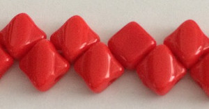 Silky Two Holed Beads - 6mm Red Opaque
