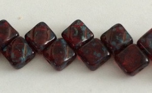 Silky Two Holed Beads - 6mm Ruby Picasso
