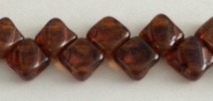 Silky Two Holed Beads - 6mm Topaz Picasso