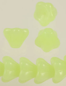 Glass Bell Flower Beads - Glow Yellow/Green