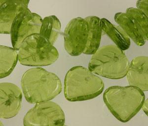 Glass Heart Leaf Beads - Olivine 10mm