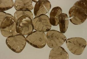 Glass Heart Leaf Beads - Smokey Topaz 10mm