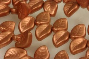 Glass Leaves - Matte Metallic Copper 14 x 9mm