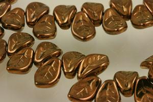 Glass Leaves Dark Bronze - 14 x 9mm