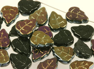 Oak Leaf Glass Beads - Black Iris 10 x 12mm