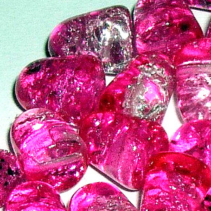Glass Bubblegum Crackle Gumdrop Beads - 7 x 10mm