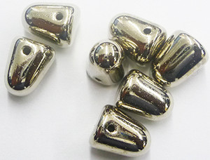Glass Silver Bullet Gumdrop Beads - 7 x 10mm