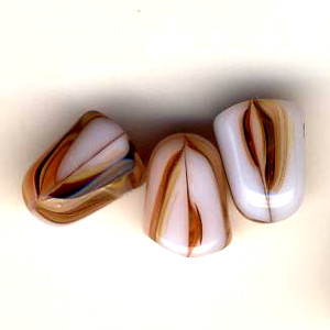 Glass Vanilla Carmel Gumdrop Beads - 7 x 10mm