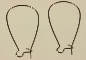 Gunmetal Kidney Ear Wires - 1 1/2""