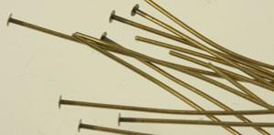 """Antique Brass Headpins - 2"""" thicker"""