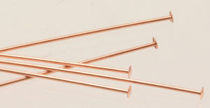 "Copper Headpins - 22 Gauge, 2"" long"
