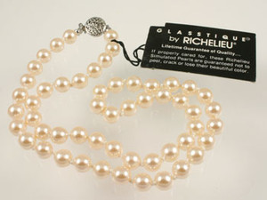 Vintage Richelieu Simulated Blushing Pink Pearl Glass Necklace