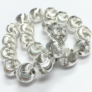 9mm Laser Eyelash Sterling Silver Beads