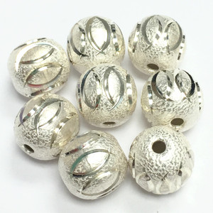 Laser Cut White Silver Comma Beads 10mm