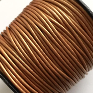 Leather Cord USA 2mm Metallic Bronze Round Leather