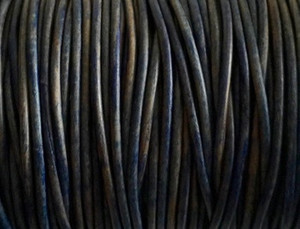 Leather Cord USA 2mm Natural Blue Round Leather