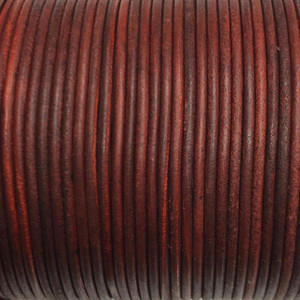 Leather Cord USA 2mm Natural Red Round Leather