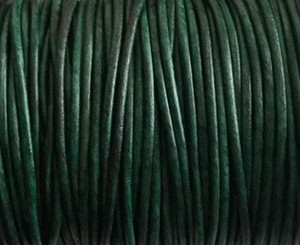 Leather Cord USA 2mm Natural Turquoise Round Leather
