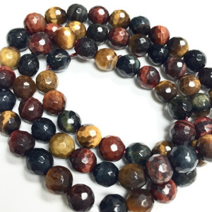 Multi Colored Tiger Eye Faceted Beads - 6mm