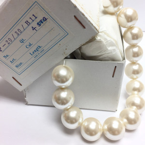 Huge Faux Vintage Napier Cream White Pearls With Luster