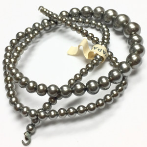 Vintage Miriam Haskell Style Silver Graduated Faux Pearls