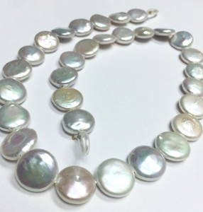 Wonderful White Coin Pearl Beads 12.5-13.5mm Limited