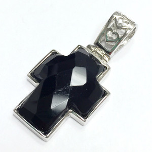 Faceted Black Agate Cross Pendant with Heart Bail 12 x 16mm