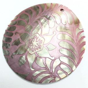 Genuine Lilypilly Ferns and Flower Pendant-Pink on Mother of Pearl-CLOSEOUT BLOWOUT!