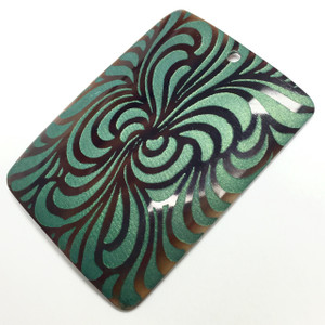 Genuine Lilypilly Groovy Patterned Pendant-Green on Black Lip Shell-CLOSEOUT BLOWOUT!