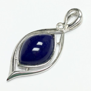 Lapis with CZ and Sterling Silver Pendant 10 x 13