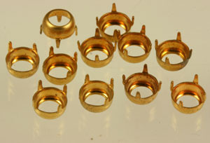 Vintage Brass Open Back Round Prong Settings-7mm