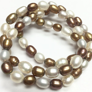 Gold & White Rice Freshwater Pearls