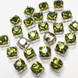 Vintage Swarovki Rose Montees-4mm-Olivine
