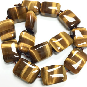 AAA Grade Tigers Eye Smooth Rectangular Pillow Beads-10 x 14mm