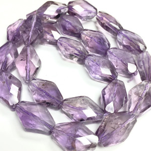 Amethyst Faceted Rhombus Beads 11 x 16mm x 6mm