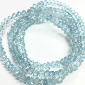 Blue Natural Topaz Faceted Rondell Beads