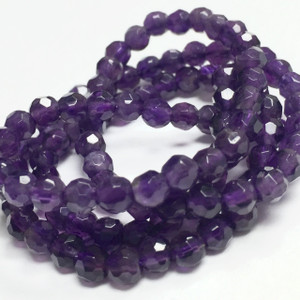 Faceted Amethyst Beads - 4mm Round