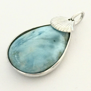 Larimar Teardrop Pendant with Shell Charm-26 x 18mm