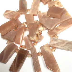 Orange Sunstone Graduated Dangling Beads-22 to 50mm