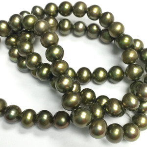 Olive Green Semi Round Freshwater Pearls