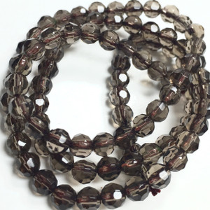 Smokey Quartz Faceted Rounds - 4mm
