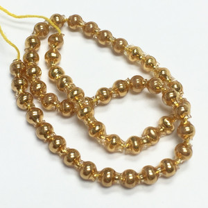 Vintage Hand Blown Mercury Glass Beads - Gold 2.5mm