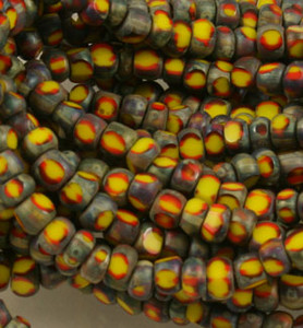 Yellow/Red/Brown Stripe Picasso 3 Cut Seed Beads - Size 6/0