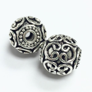 Sterling Silver  Bali Style Beads-14mm