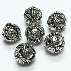 Sterling Silver Bali Style Beads-9mm