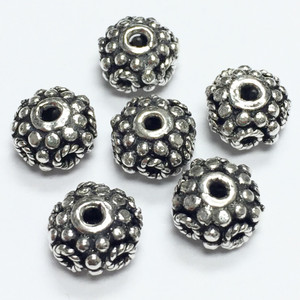 Sterling Silver Bali Style Bead - 9 x 6mm